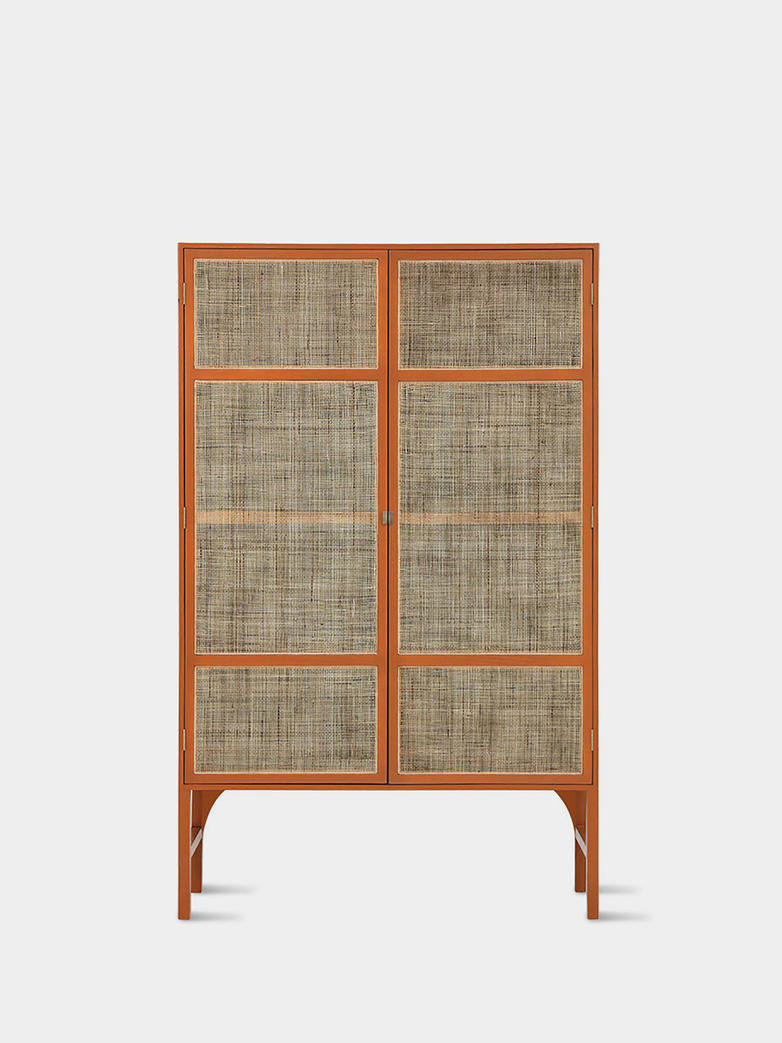Retro webbing cabinet orange with shelves