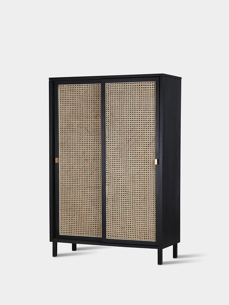 Webbing sliding door cabinet -  black