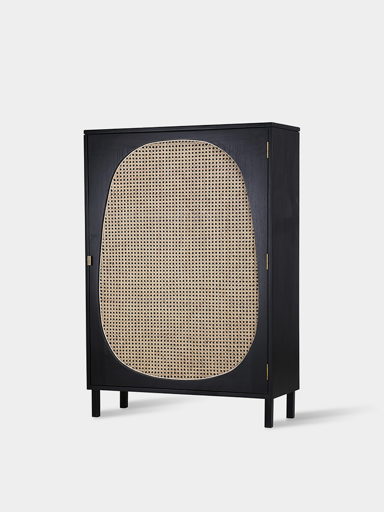 Webbing single door cabinet - black