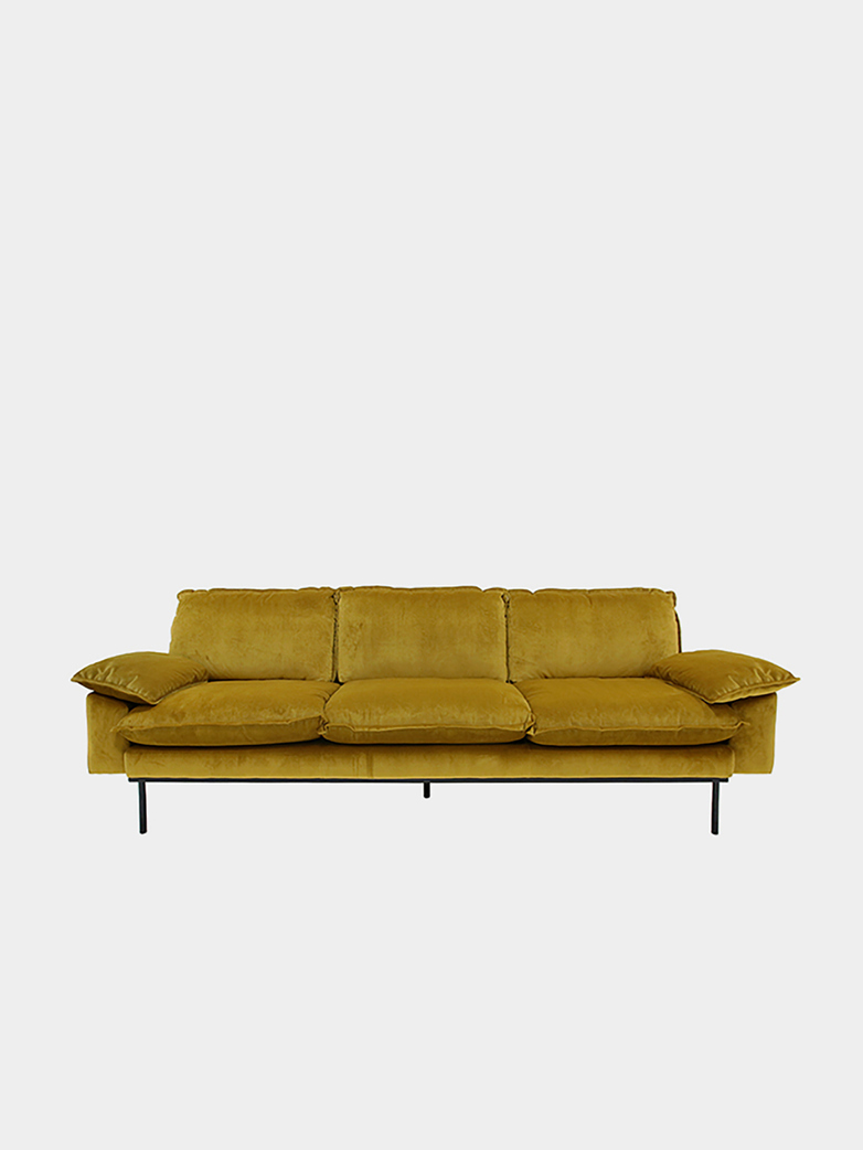 Retro sofa: 4 seater - ochre