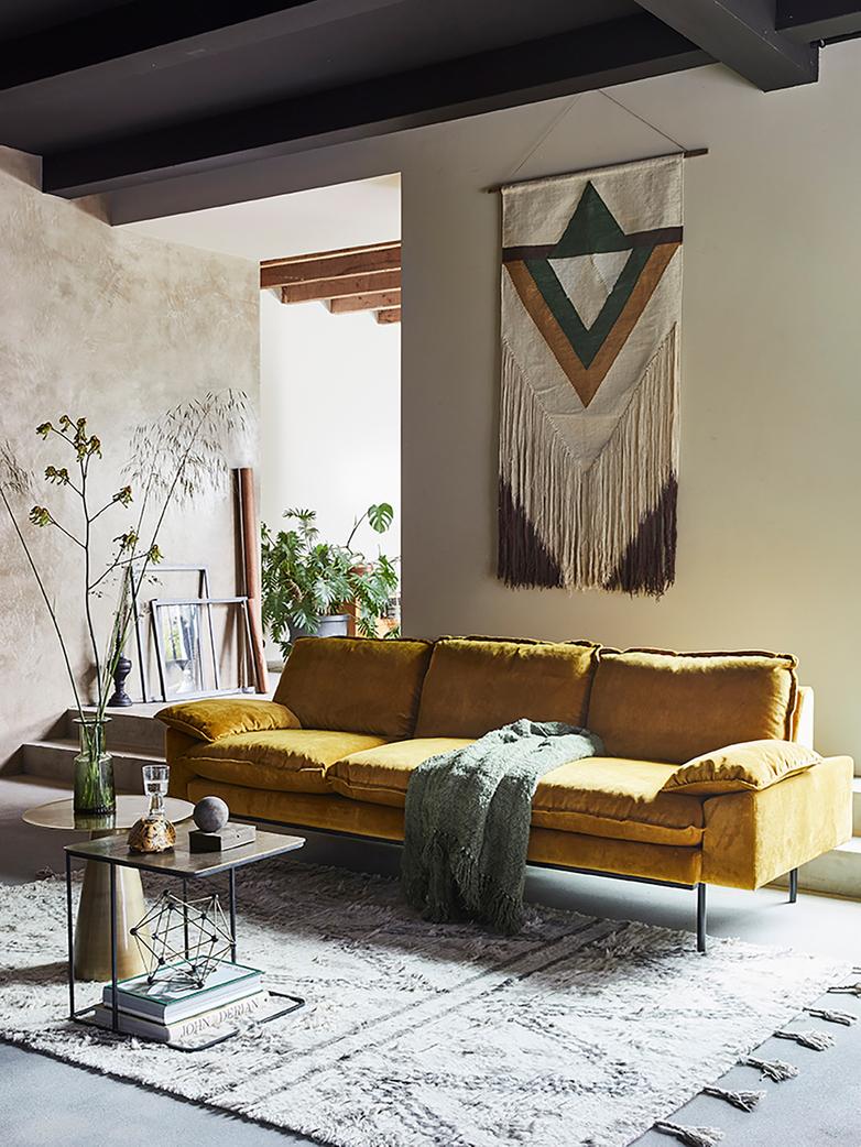 Retro sofa: 4 seater - ochre