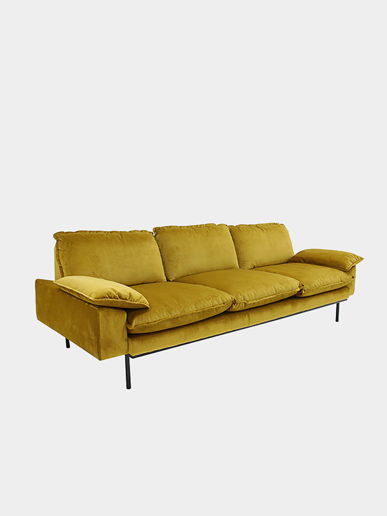 Retro sofa: 3 seater - ochre