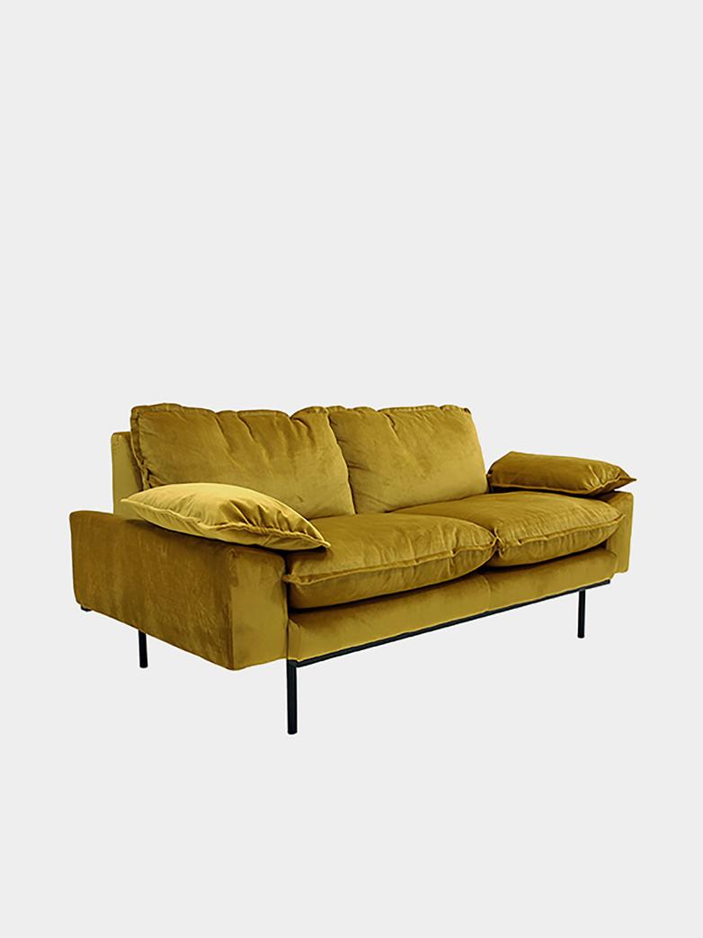 Retro sofa: 2 seater - ochre