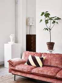 Retro sofa: 4-seats - vintage velvet - old pink