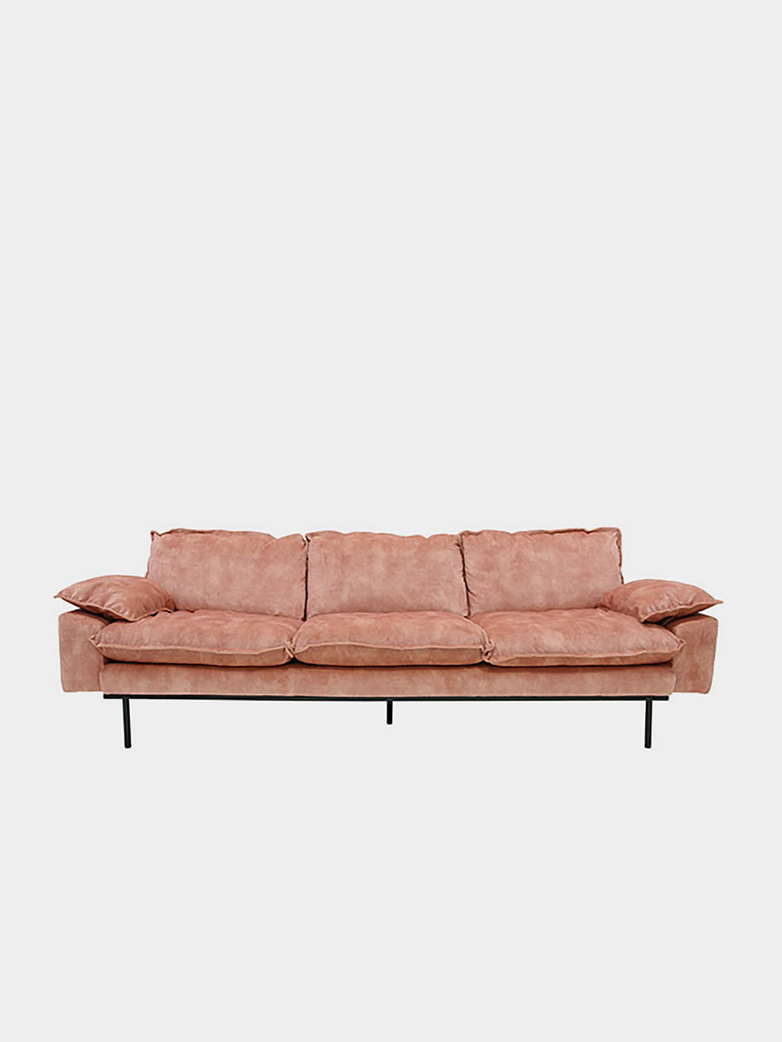 Retro sofa: 4-seats - vintage velvet - old pink