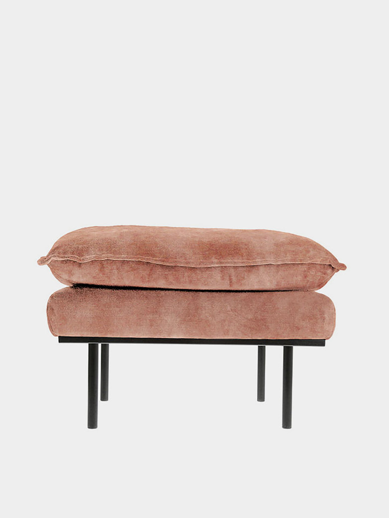 Retro sofa: foot stool -  vintage velvet -  old pink