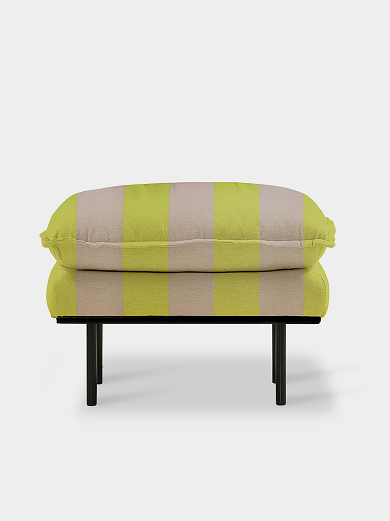 Retro sofa: foot stool - striped yellow/nude
