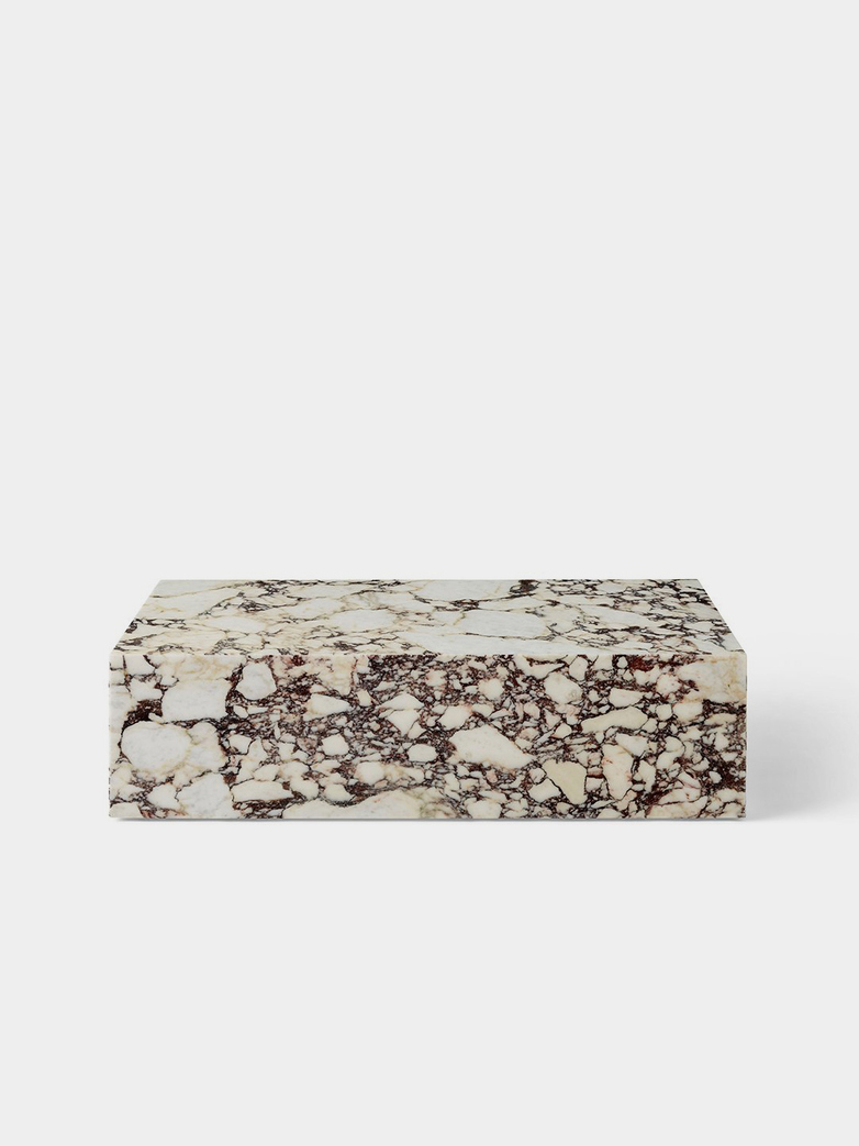Plinth Low Sofa Table - Rose Calacatta Viola Marble