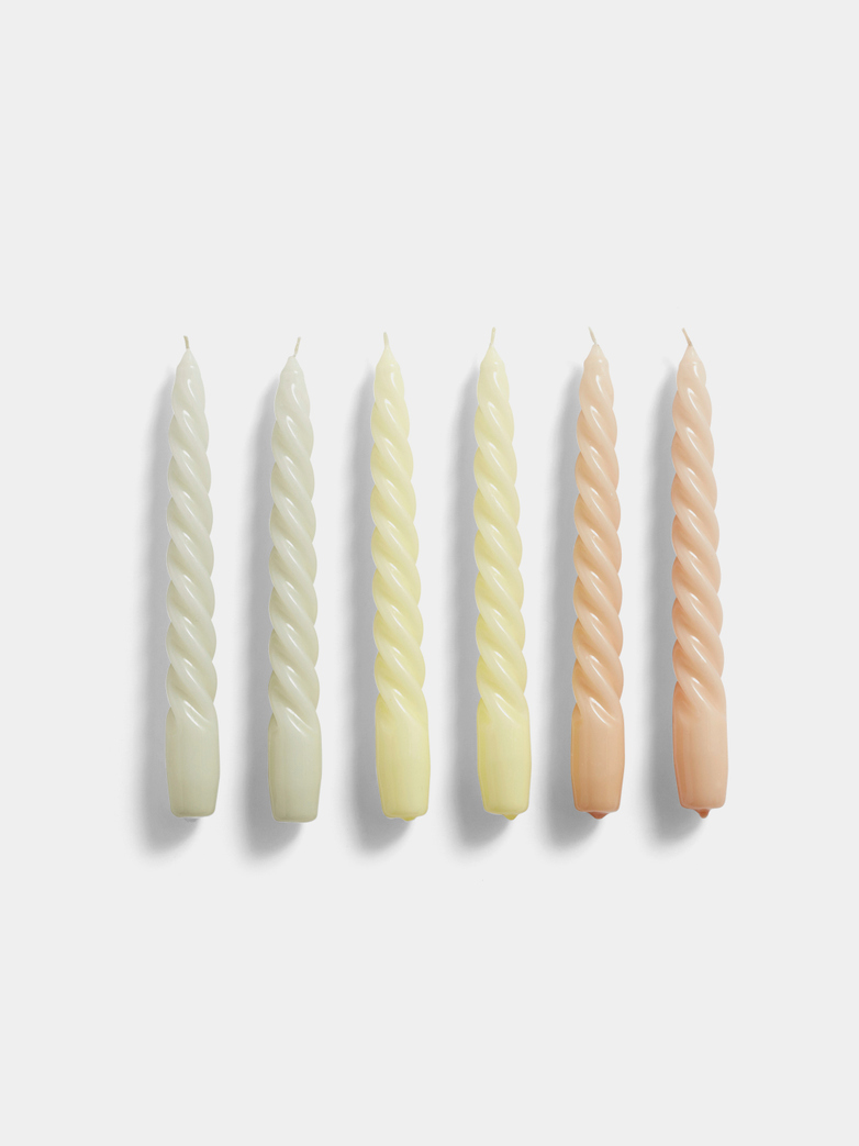 Glossy Twist Candles, Set of 6, H20, Grey Beige, Citrus, Peach