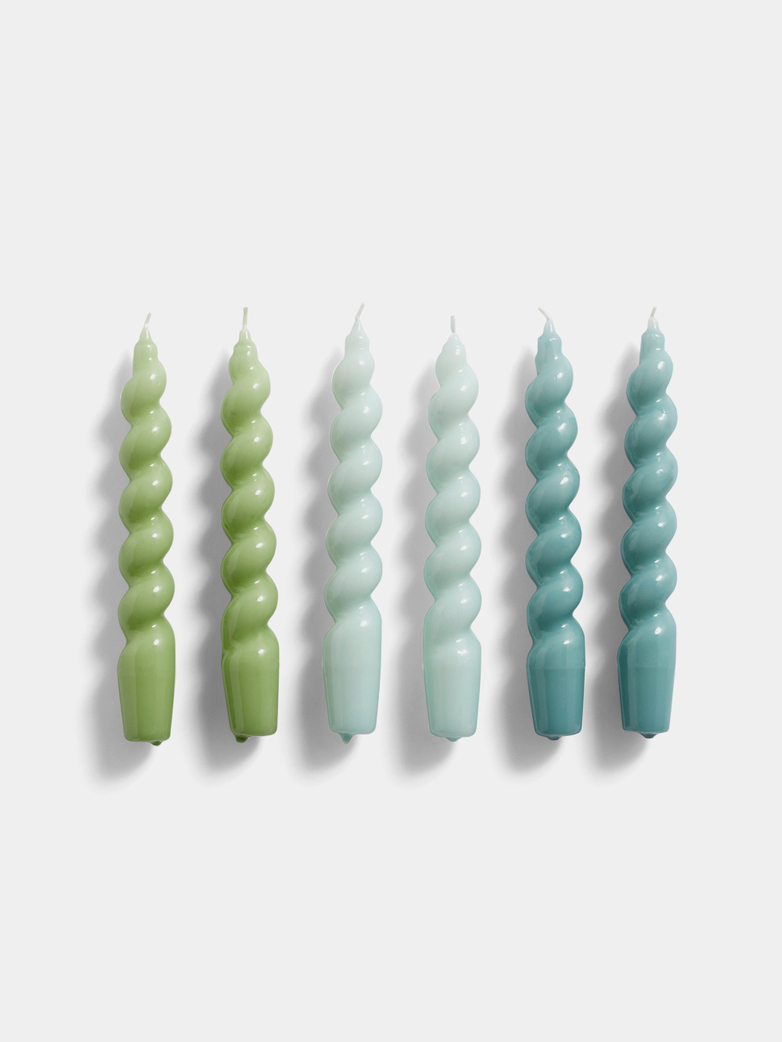 Glossy Spiral Candles - Set of 6 - Green - Artic Blue - Teal