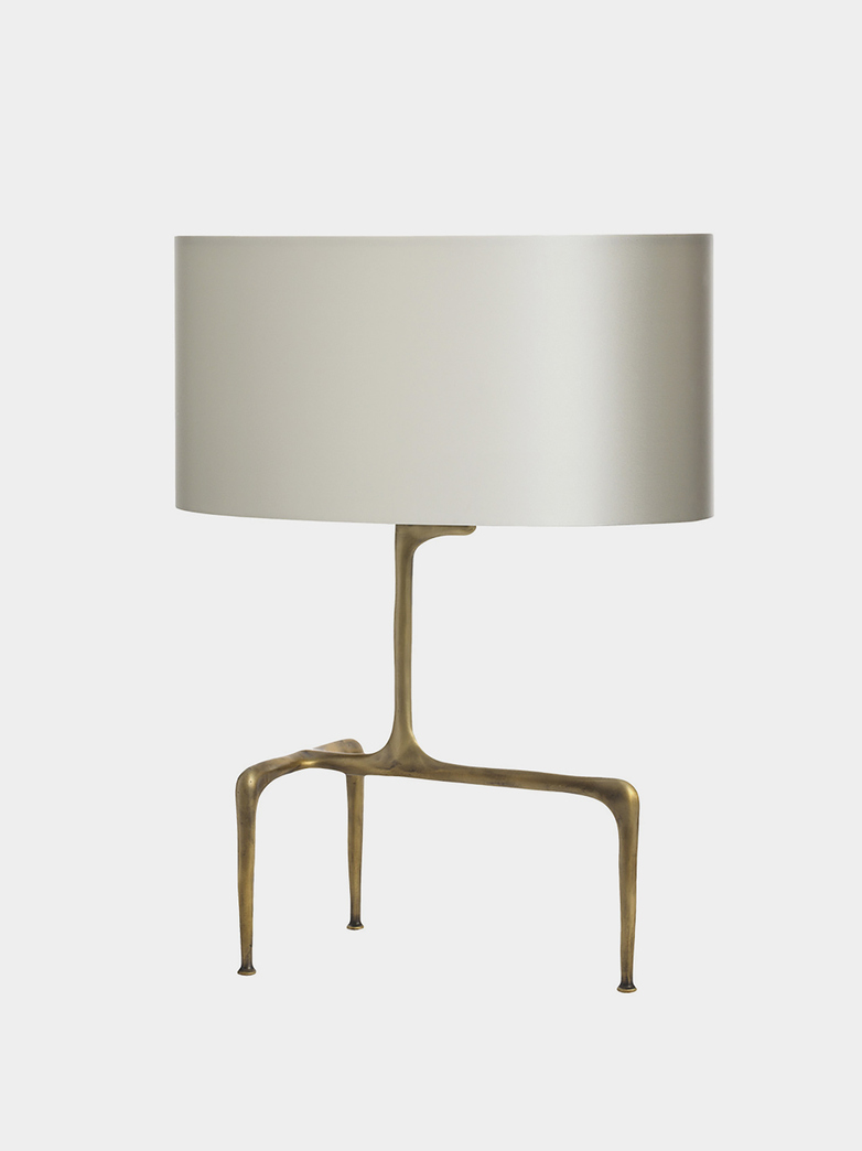 Braque Table Lamp - Antique Brass/Dove Grey Silk