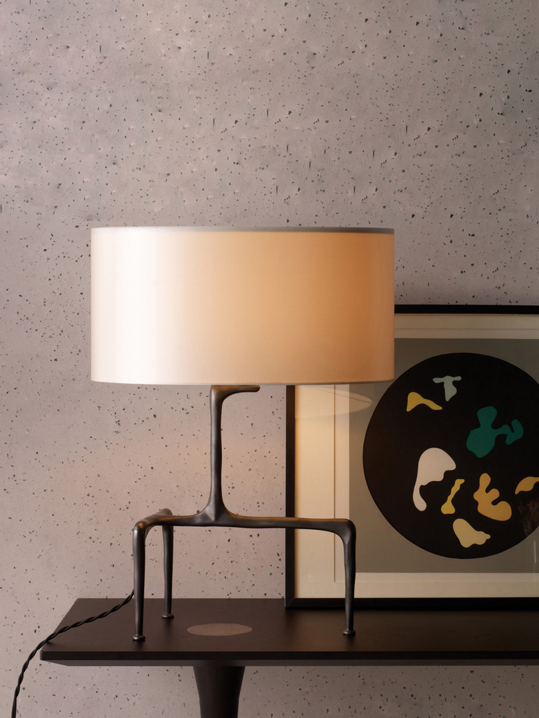 Braque Table Lamp - Antique Brass/Slate Grey Silk