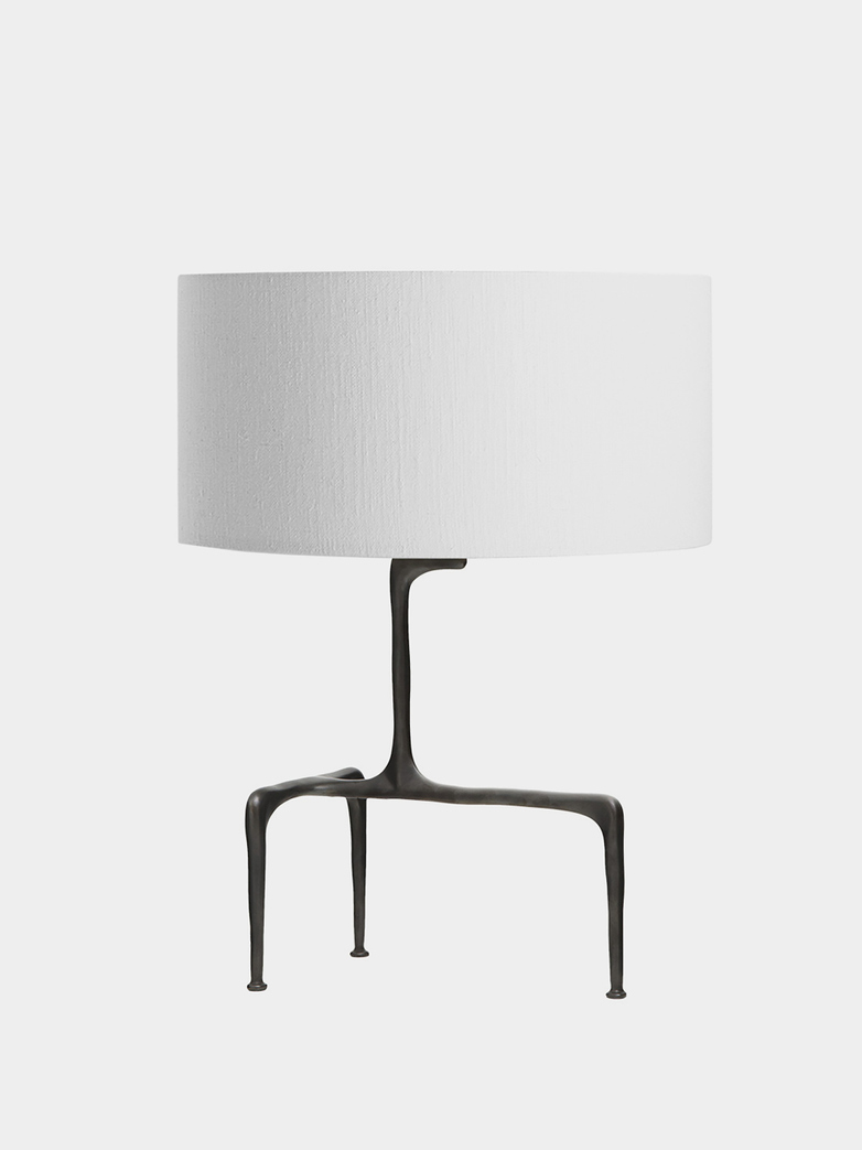 Braque Table Lamp - Bronze/White Linen