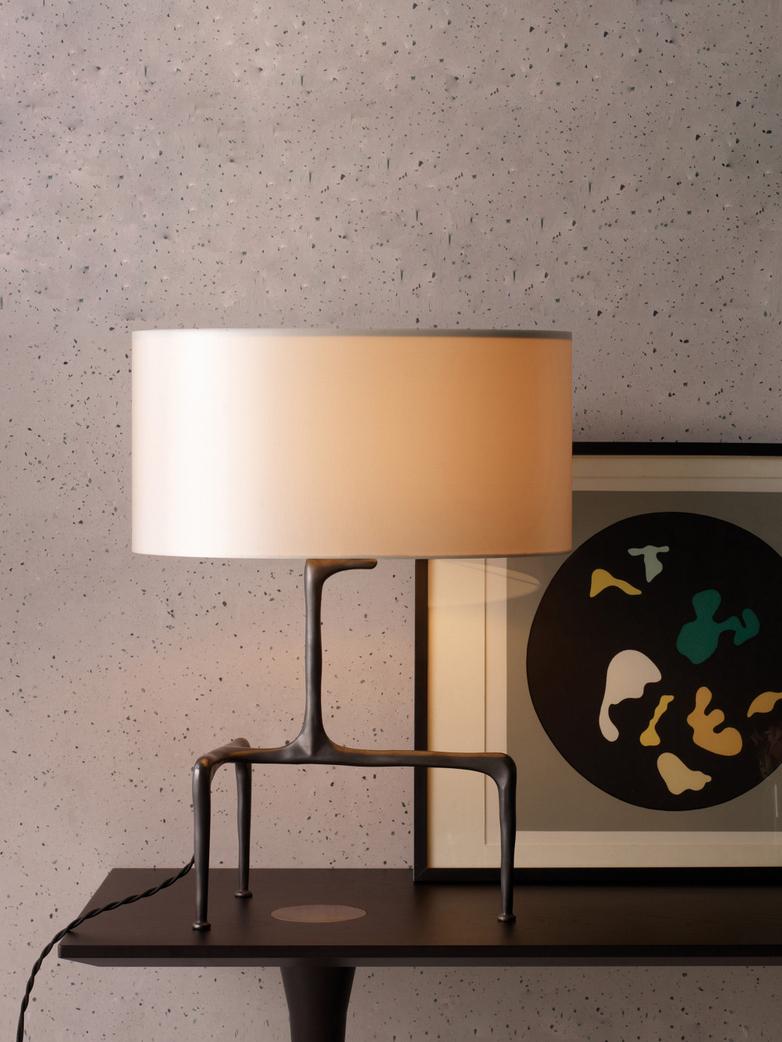 Braque Table Lamp - Bronze/White Linen