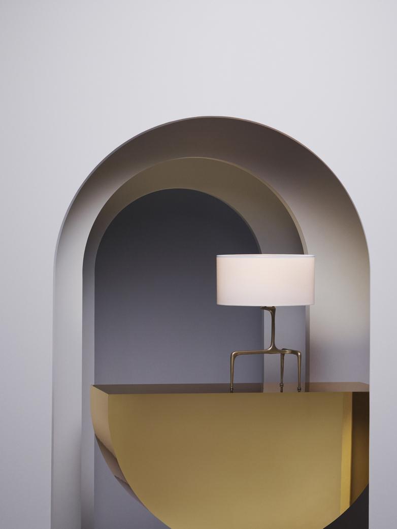 Braque Table Lamp - Antique Brass/White Linen