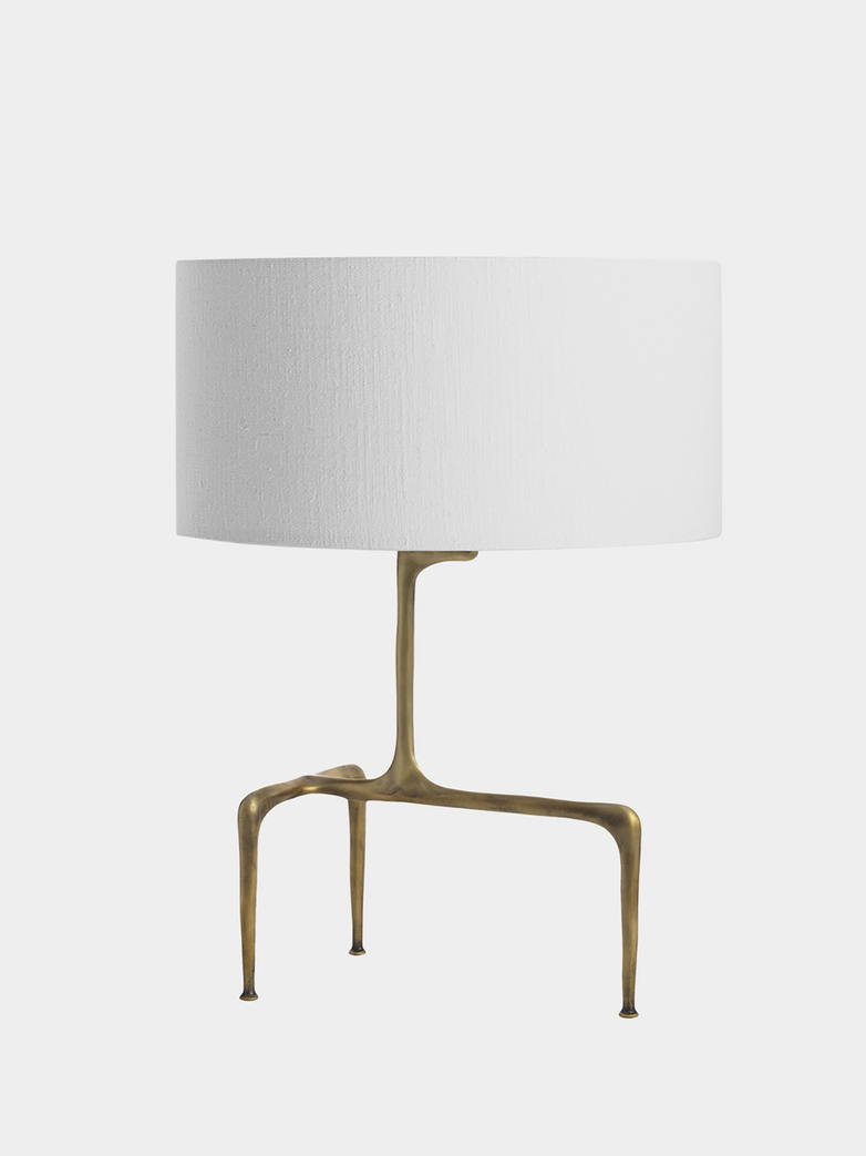 Braque Table Lamp - Antique Brass/White Linen
