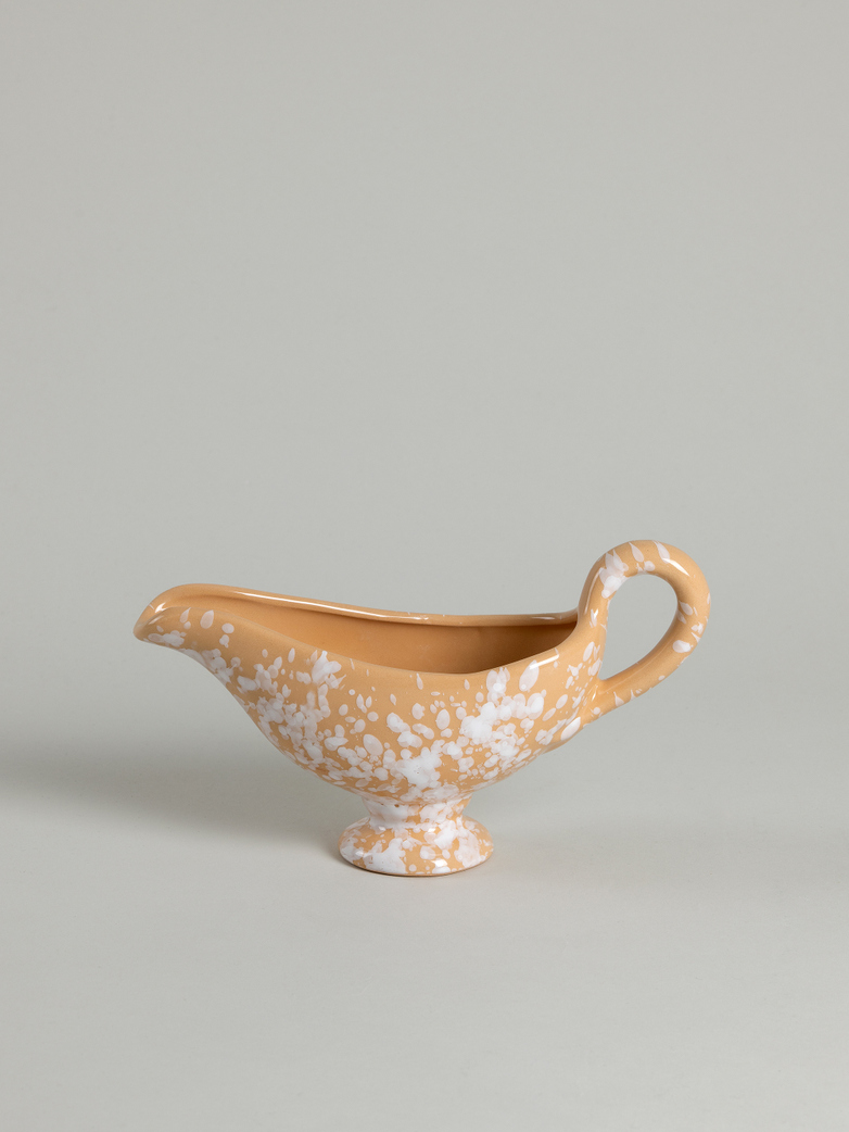 Spruzzi Vivente - Gravy Boat - White on Terracotta