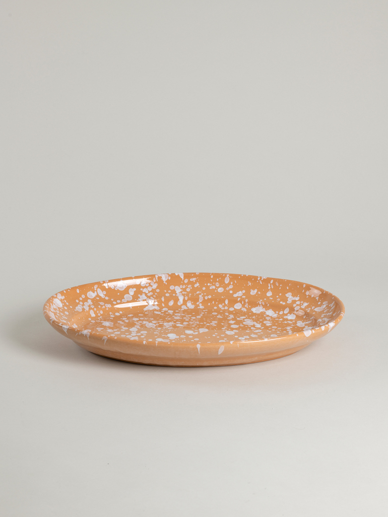 Spruzzi Vivente - Big Oval Plate - White on Terracotta