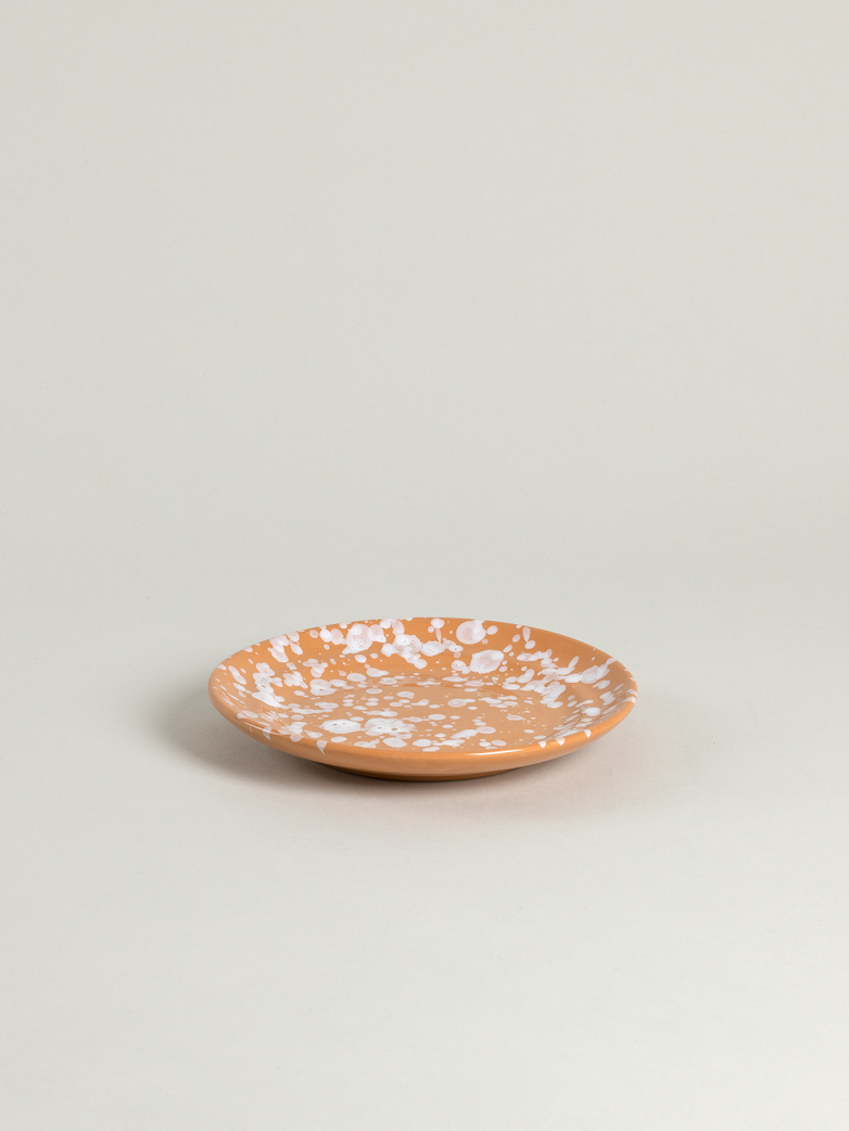 Spruzzi Vivente - Plate 18,5 cm - White on Terracotta