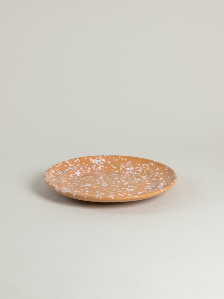 Spruzzi Vivente - Dinner Plate 24 cm - White on Terracotta