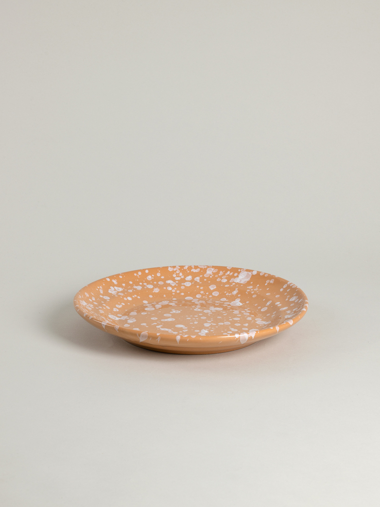 Spruzzi Vivente - Dinner Plate 28 cm - White on Terracotta