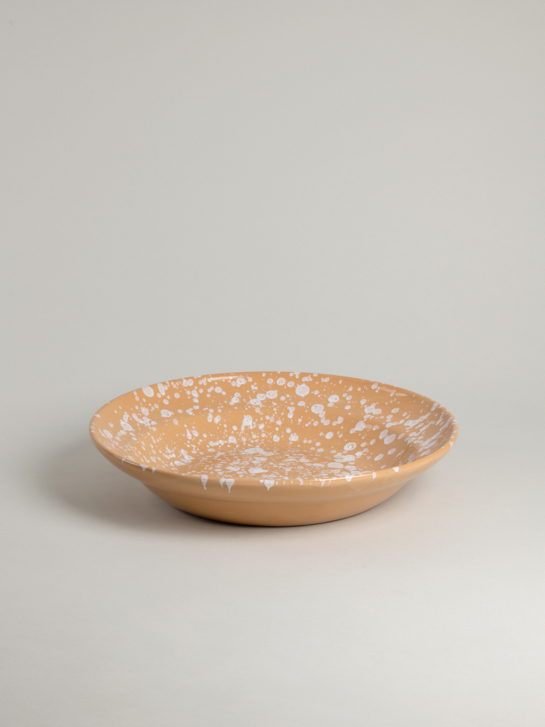 Spruzzi Vivente - Big Serving Bowl - White on Terracotta