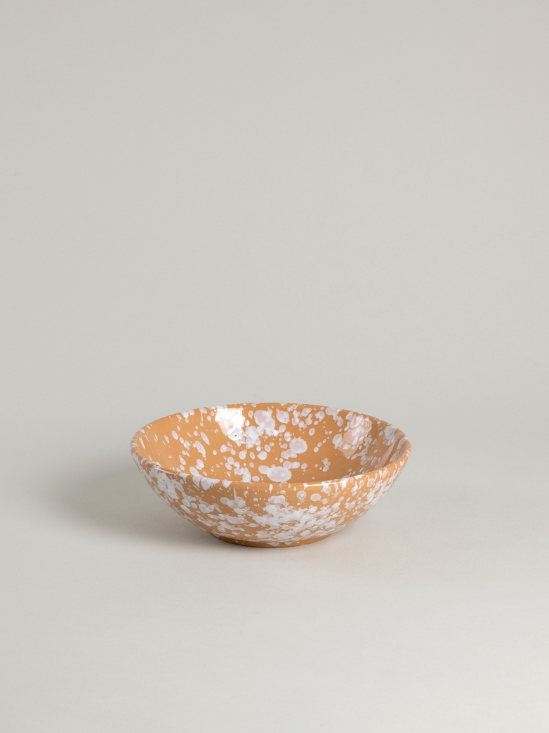 Spruzzi Vivente - Small Salad Bowl - White on Terracotta