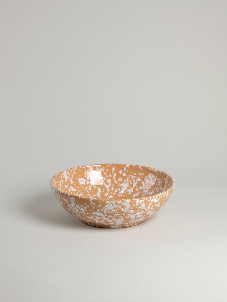 Spruzzi Vivente - Splatter Bowl - White on Terracotta