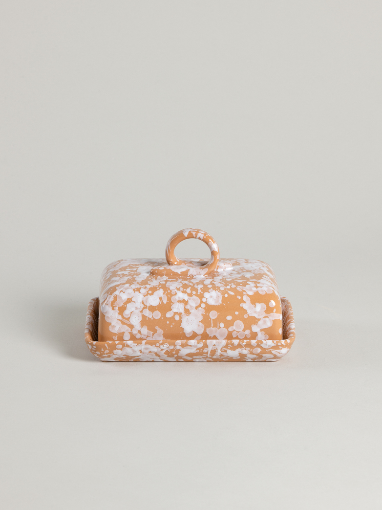 Spruzzi Vivente - Butter Dish - White on Terracotta