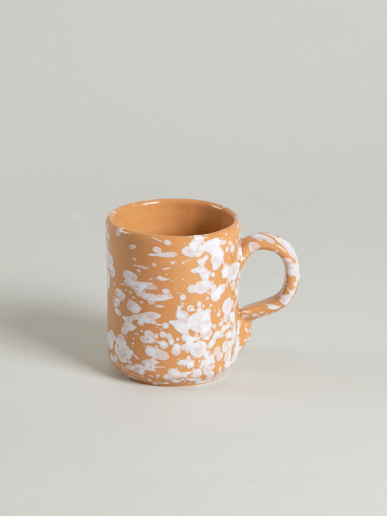 Spruzzi Vivente - Mug with Handle - White on Terracotta