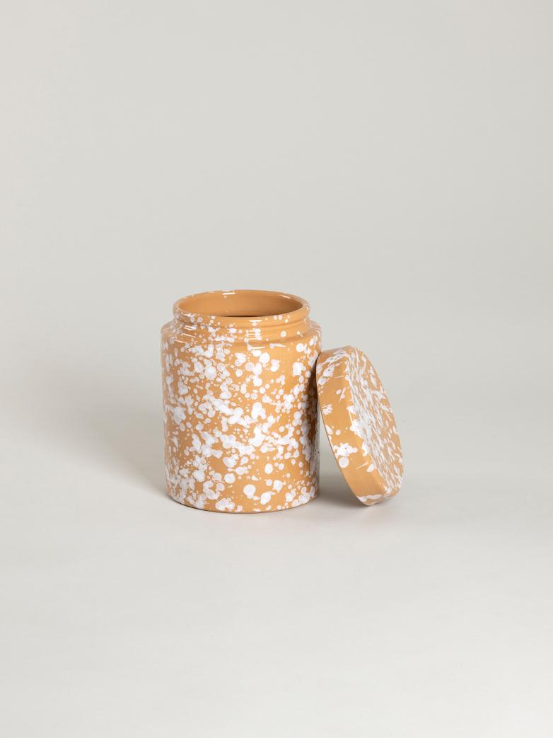 Spruzzi Vivente - Jar with Lid - White on Terracotta