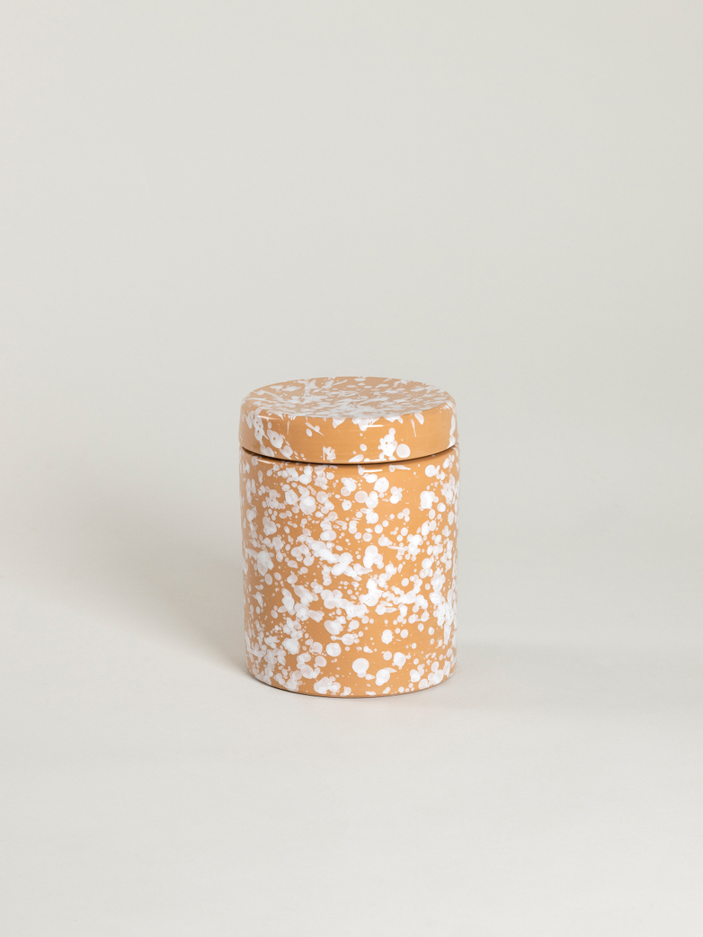 Spruzzi Vivente - Jar with Lid - White on Terracotta
