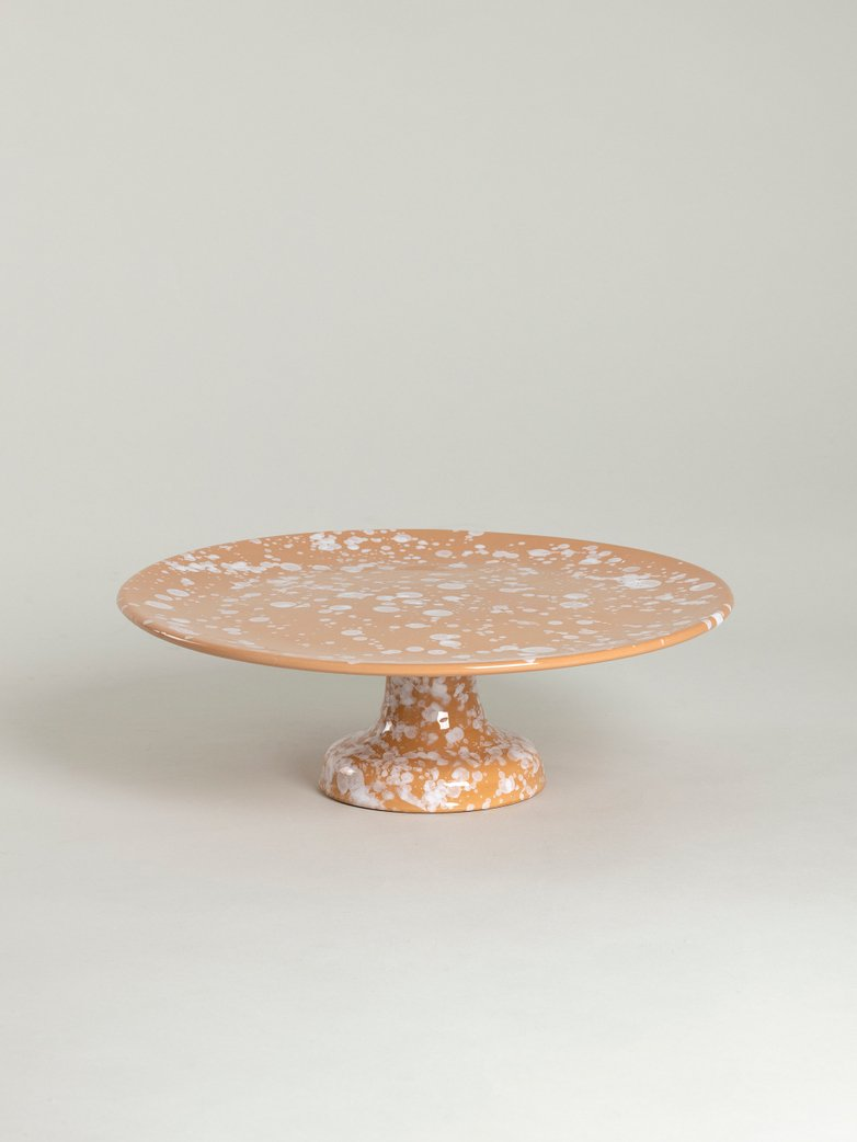 Spruzzi Vivente - Cake Stand - White on Terracotta
