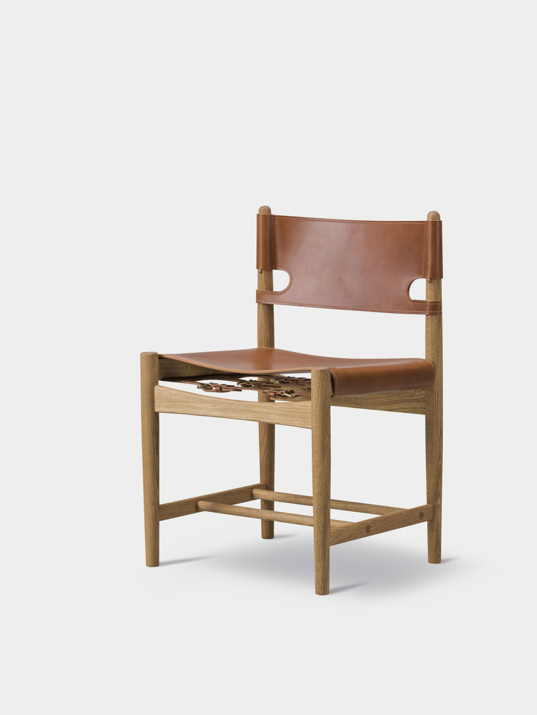 The Spanish Dining Chair - Oiled Oak/Cognac