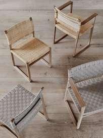 BM62 Armchair - Linen Webbing/Oiled Oak