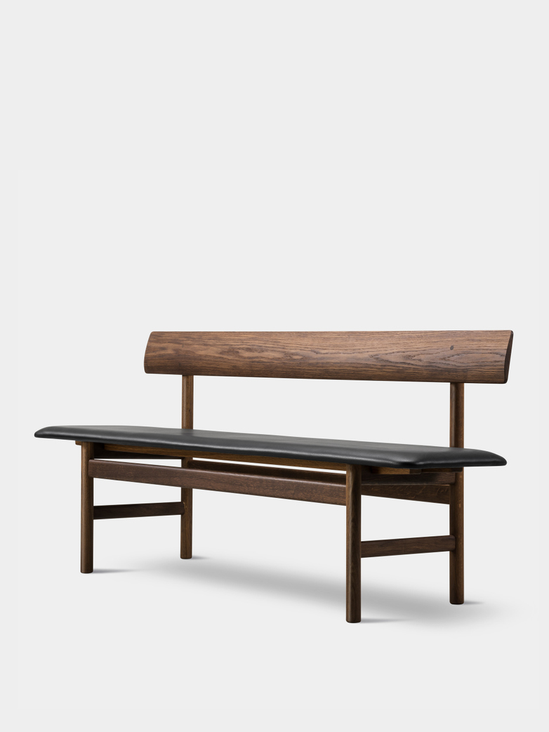 Mogensen Bench 3171 – Oiled Smoked Oak/Leather Black 88