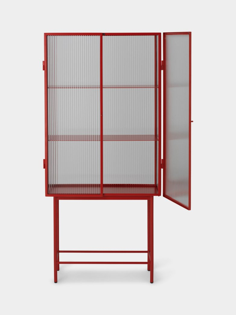 Haze Vitrine Reeded Glass – Poppy Red