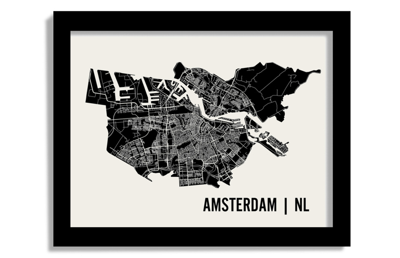 Monochrome Amsterdam Map