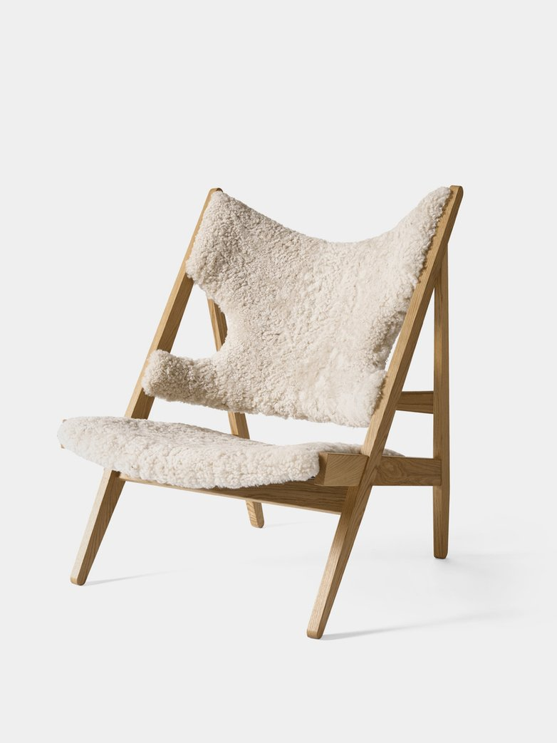 Knitting Lounge Chair - Sheepskin Moonlight - Natural Oak