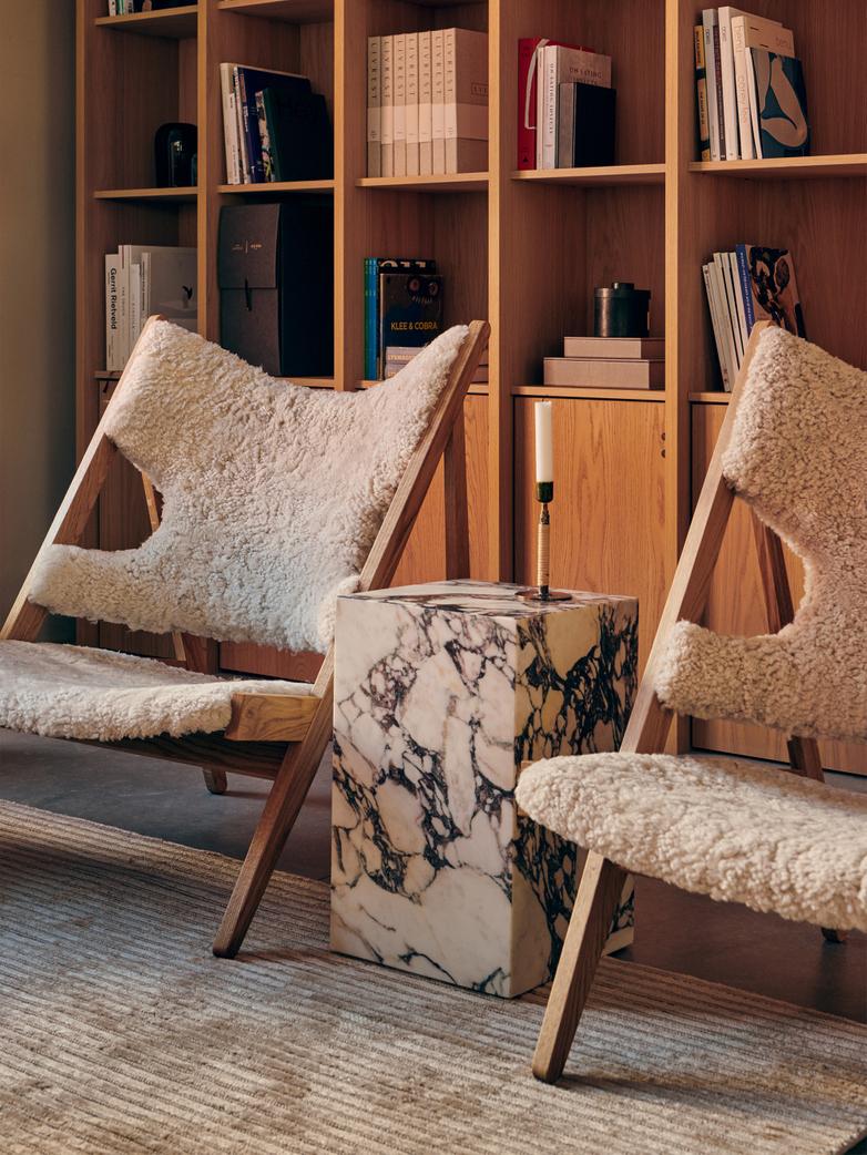 Knitting Lounge Chair - Sheepskin Moonlight - Natural Oak
