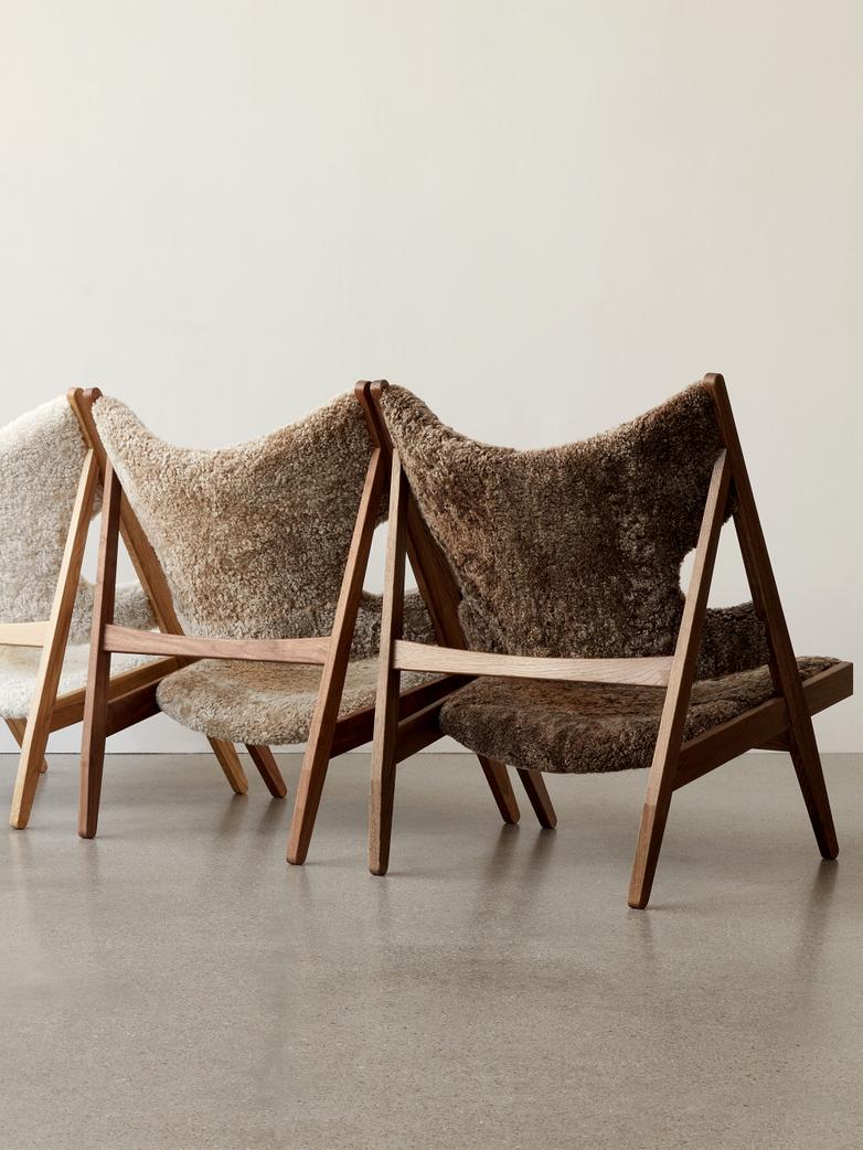 Knitting Lounge Chair - Sheepskin Cork - Walnut