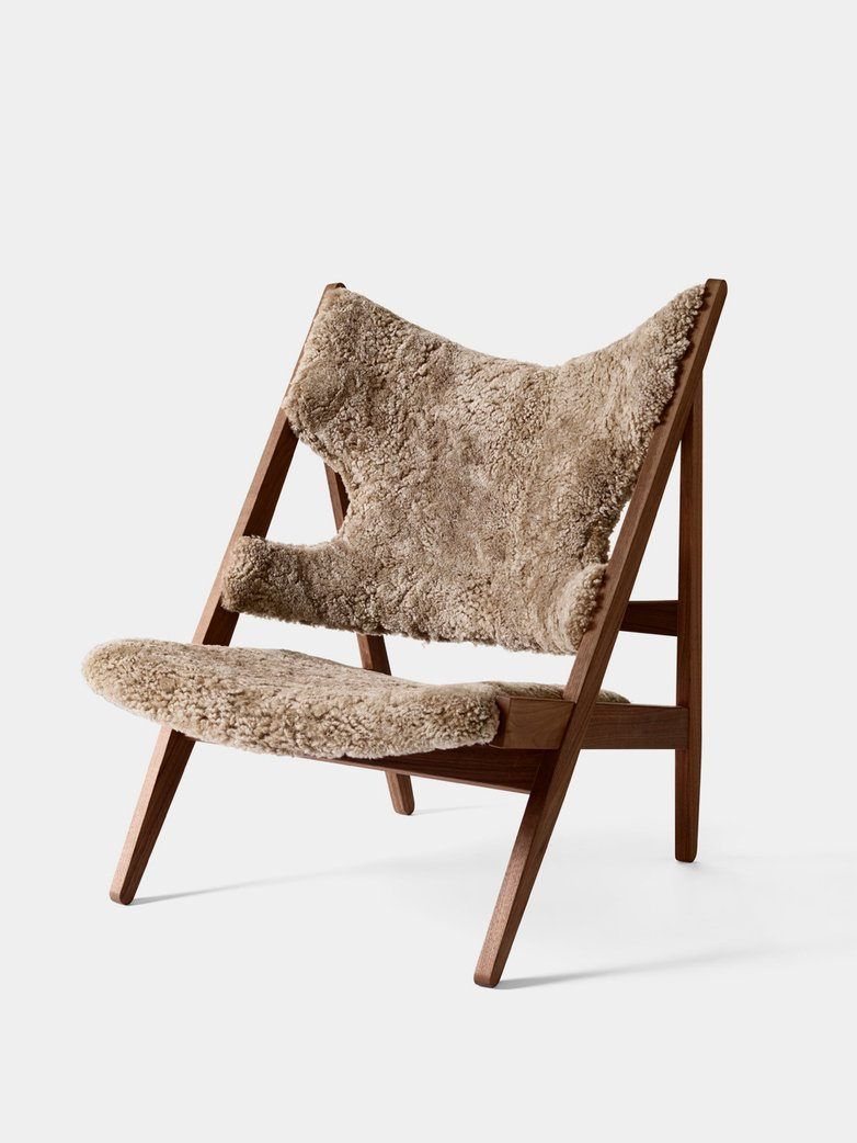 Knitting Lounge Chair - Sheepskin Cork - Walnut