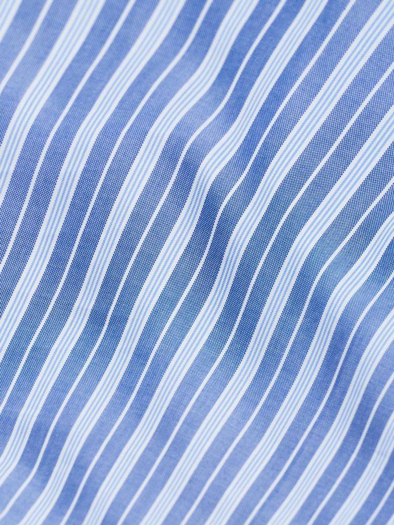 Wall Street Pillow Case Oxford - Striped Medium Blue