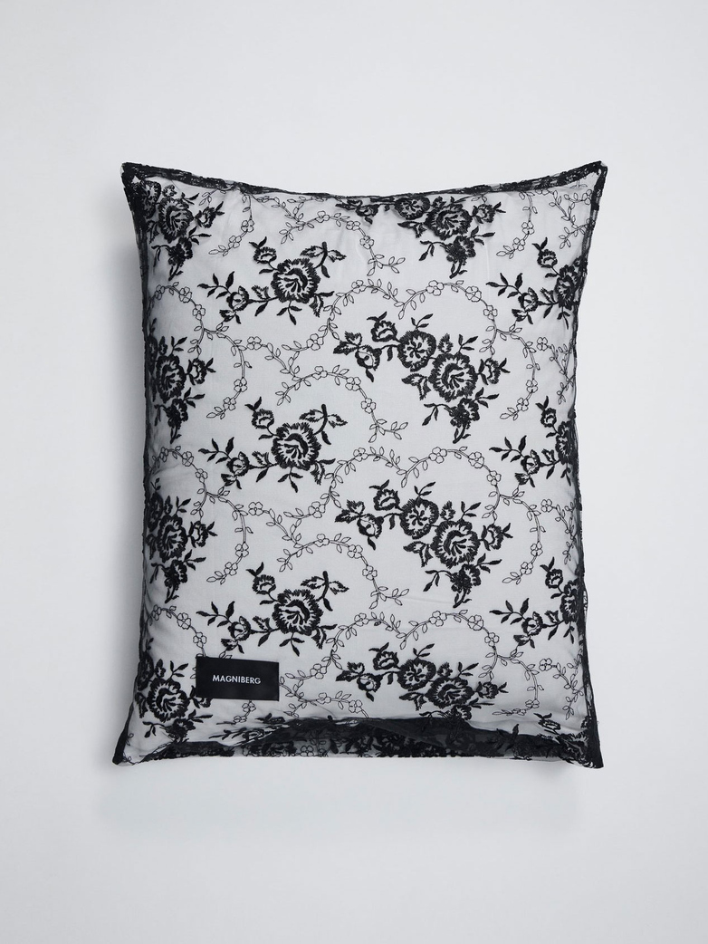 Rose Pillow Case Lace 50x60 - Black