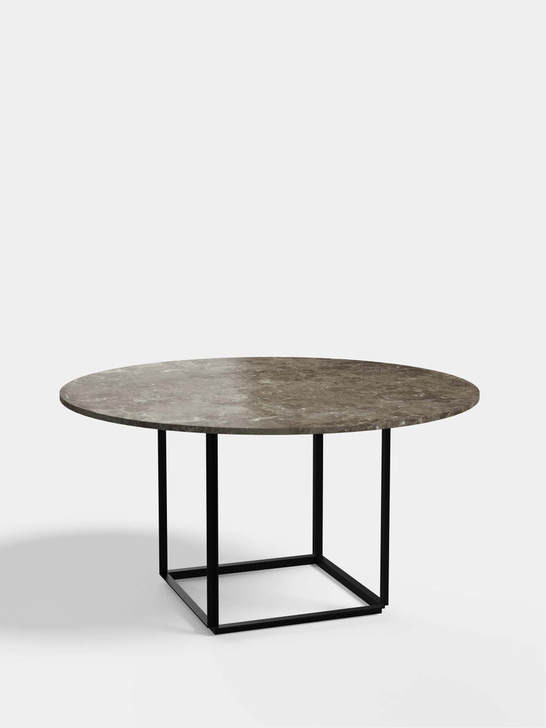 Florence Dining Table – Black Iron/Gris du Marais Marble - Ø145