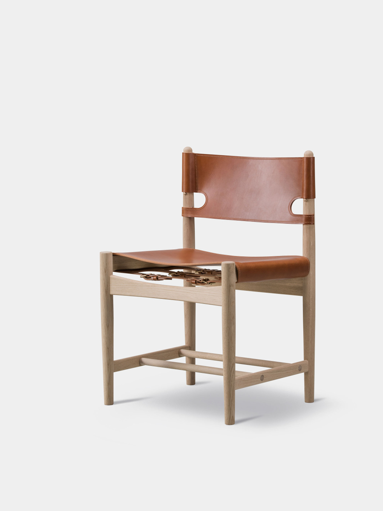 The Spanish Dining Chair - Soaped Oak/Cognac
