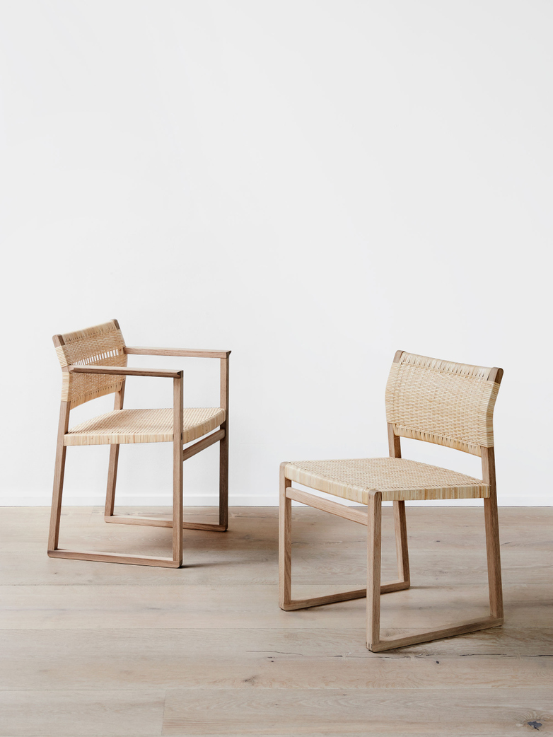 BM62 Armchair - Cane Wicker/Oiled Oak