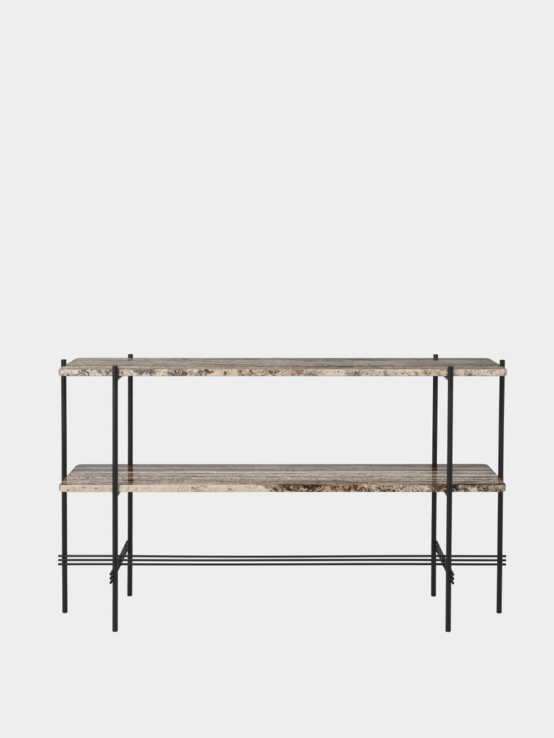 TS Console - 2 Racks - Grey Travertine/Black Base