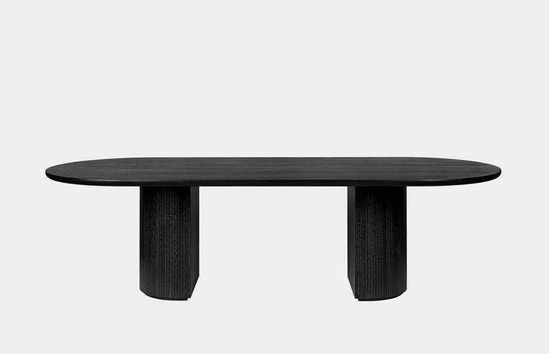 Moon Dining Table Elliptical - Brown/Black Stained Veneer Oak
