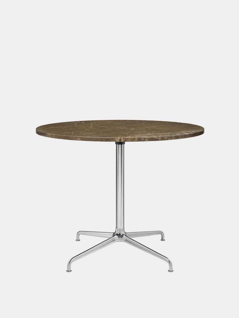 Beetle Dining Table 90 - Marble/Polished Aluminium Base
